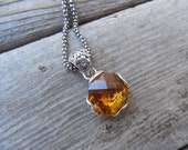 ON SALE Beautiful madeira citrine necklace in sterling silver 925