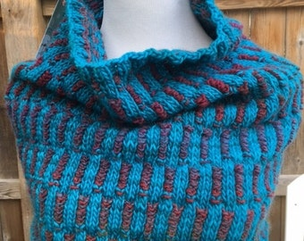Long Neck to Shoulders Turquoise and Rust Wool Cowl