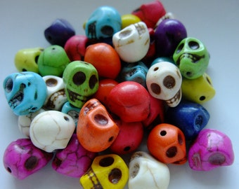 Destash (20) Small Multi Rainbow Stone Skull Beads, day of the dead - for pendants, bracelets, jewelry making, crafts, scrapbooking