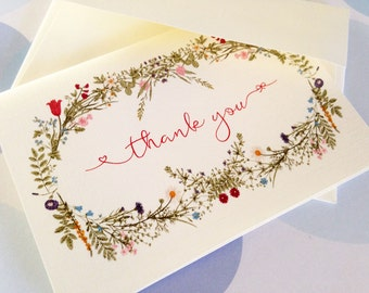 Personalized Stationery, Vintage Floral Cards, Set of 6