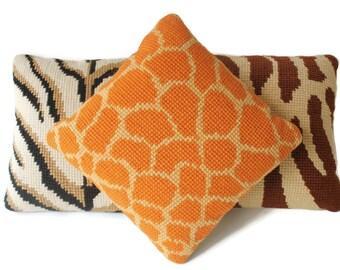 Wild Animal Pattern Throw Pillows - Vintage Needlepoint Pillow Set of 3