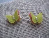 Itty Bitty Butterflies . mini snap clips . baby hair accessory . chartreuse pink