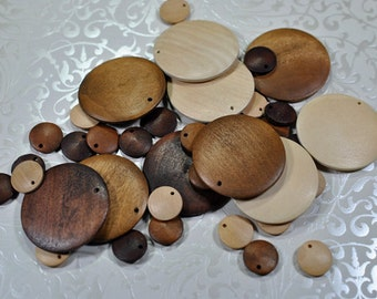 wooden desk pendants/dangles, drilled, 15-40mm, #769