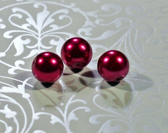 Dark Red Glass Pearls, 12mm - #1205