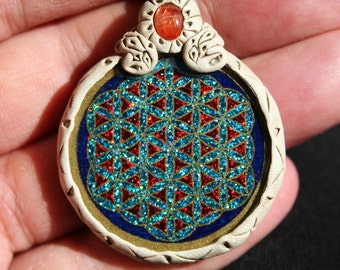 Flower of Life Gemstone and Glass  Pendant set in Clay