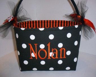 Halloween Trick or Treat Fabric Basket / Bucket / Bag / Tote- Black White Orange Polka Dot Stripes- Personalization Available
