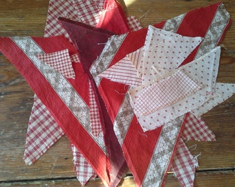 Antique (22) Scrap Fabric Quilt Pieces all from 1880 to 1910 - Red and White Shirting & Gingham Material COTTON
