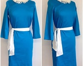 Vintage Inspired Turquoise Shift Dress B37 W29