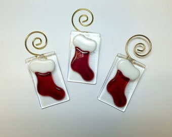 Fused Glass Stocking Ornaments, set of 3