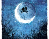 """E.T.'s """"Taking Flight"""" - 12x18 Officially Signed, Dated and Hand-Stamped Art Print"""