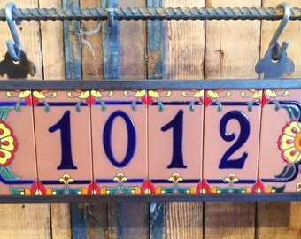 Custom Royal Blue on Terra Cotta Tile House Numbers with Talavera End Caps