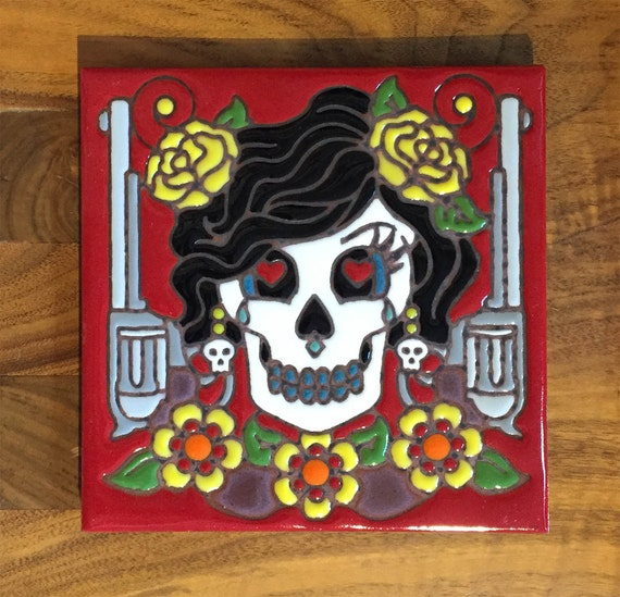 "Day of the Dead Bandita 6""x6"" Hand Glazed Tile Trivet"