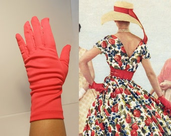 With a Cherry On Top - Vintage 1960s Cherry Bright Red Polyester Over the Wrist Gloves - 7/8