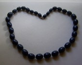 CLEARANCE Navy Blue Graduating Lucite Bead Necklace