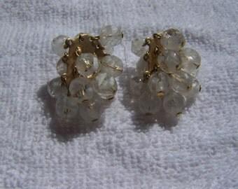 Dangling Milky Glass Bead Earrings