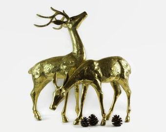 Large Brass Deer, Vintage Brass Deer Pair, Brass Deer Statues, Christmas Home Decor, Christmas Deer