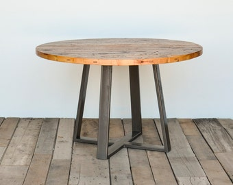 Round criss cross dining table in reclaimed wood and steel legs in your choice of color, size and finish