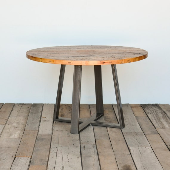Round Criss Cross Dining Table In Reclaimed Wood And Steel Legs In
