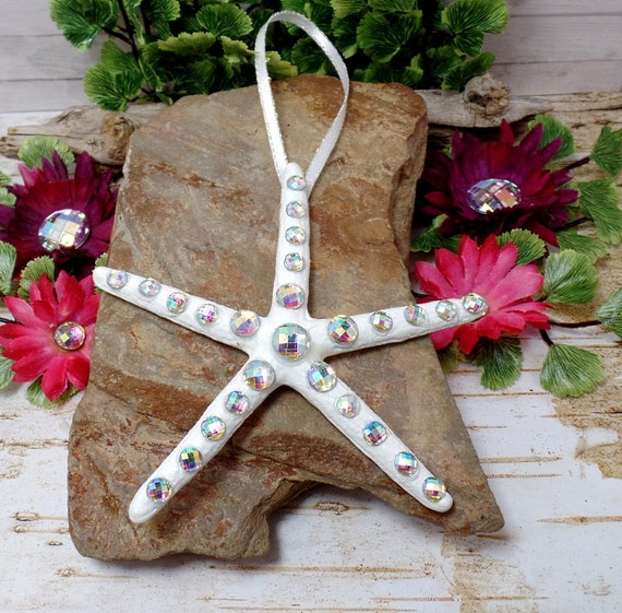 AB Rhinestone Starfish Ornament With White Ribbon - Beach Decor - Christmas - Home Decor - White Star