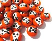 Skull Beads GLASS Orange Skull Focal Beads Lampwork Twelve(12) Beads 13mm Handmade Glass Beads Vintage Halloween DoD Jewelry Supplies (S122)