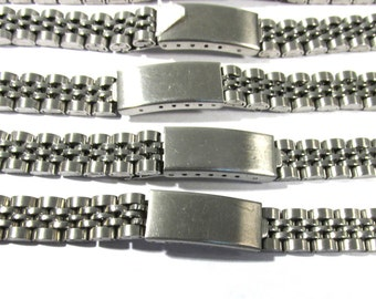 Watch Bands VINTAGE Watch Parts Five (5) Silver Tone Clasp Watch Bands Vintage Watch Repair Jewelry Art Supplies (N77)