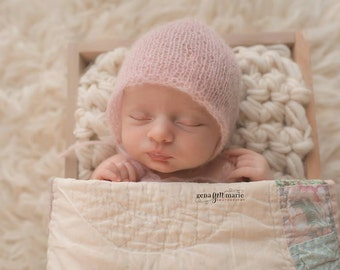 Baby Bonnet Simple Mohair - Newborn Bonnet Blush - Choose Color - Baby Girl- Newborn Girl Hat - Newborn Photo Prop - Hand Knit Baby Hat