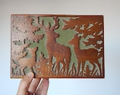 deer wooden box vintage wooden storage box