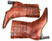 Vintage Art Effects Multi-Brown Leather Side Zip Ankle Boots Sz 7
