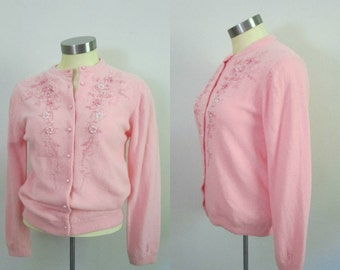 1950s 1960s Pink Embroidered Wool Cardigan Button Front Sweater