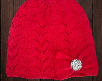 Red Cotton Bow Hat Knit Hat Red Bow Hat Lined Warm Hat Winter Hat Baby Hat Girl Hat Toddler Hat Gem Bow Hat Cotton Hat Soft Stretchy Hat
