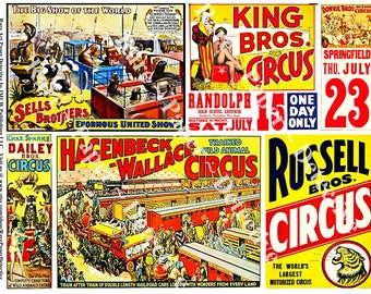 Circus Clip Art Posters Digital Carnival Posters Circus Train Circus Shows Wild Animal Collage Circus Stickers Clowns Acrobat ClipArt, 342b