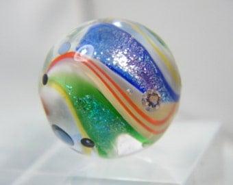 Glitter & CZ Swirl Focal Bead  by Caroline Dousi