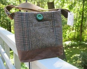 Brown tweed tote bag, brown shoulder bag, wool messenger bag, brown and green suit coat bag, recycled wool handbag, waxed canvas bag
