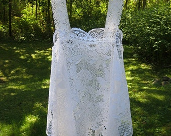 White boho hippie country chic lace camisole for layering, festival wear, upcycled vintage, small - medium