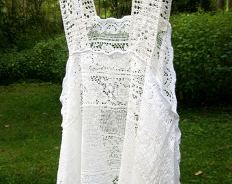 White boho hippie country chic crocheted camisole for layering, gypsy lace top, festival wear, upcycled vintage, small - medium