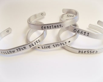 Custom Personalized Hand Stamped Silver Aluminum Bracelets