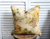 Natural botanical piped pillow cover