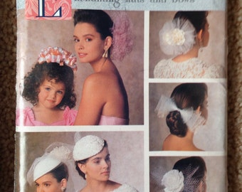 Butterick Pattern for Enchanting Hats and Bows, Wedding Veils 1989 pattern