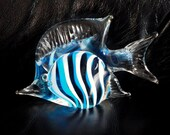 Vintage Aqua Blue and White Hand Blown Art Glass Tropical Angel Fish Paperweight
