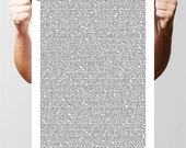 Lots, lots, lots of quotes by Oscar Wilde, typographic poster Print. Size A3 (chalk with white text)