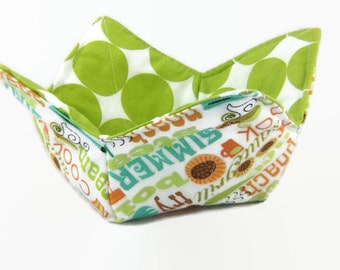 Microwaveable Bowl Cozy, Bowl Cozy, Hot Pad, Reusable, Green Kitchen Decor, House warming gift, Microwave Cozy, Kitchen Utensil, Cozy