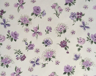 Vintage Wallpaper - Purple Flowers Butterflies 1950's - 1 Yard