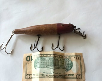 SALE!!!Antique Wood Fishing Lure Large Pikie Lure Red and Natural 3 Treble Hooks was 250.00, now 99.99.