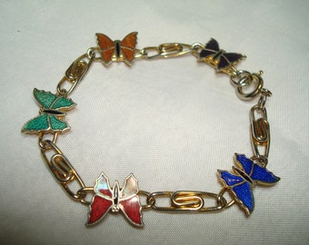 1973 Cloisonné Butterfly Bracelet.