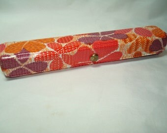 1960s Flower Power Pink Orange and Purple Sewing Travel Kit.