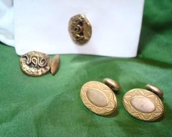 1920s 1940s Golden Button Cufflinks.