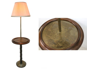 Chinoiserie Bamboo Floor Lamp Table by Frederick Cooper Hollywood Regency