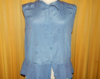 Pink and Blue Gray Satin Pleated Striped Sleeveless Top Blouse Bust 38