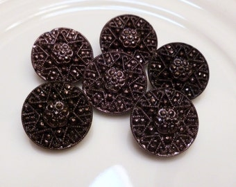 """6 Antique Czech's Black Glass Buttons, Star, Black with PlumHue, Circa 1930's, """"6 in lot"""",  Button Jewelry, Rare, Black Glass Buttons"""