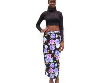 Purple rose print stretch knit maxi skirt 90s 1990s
